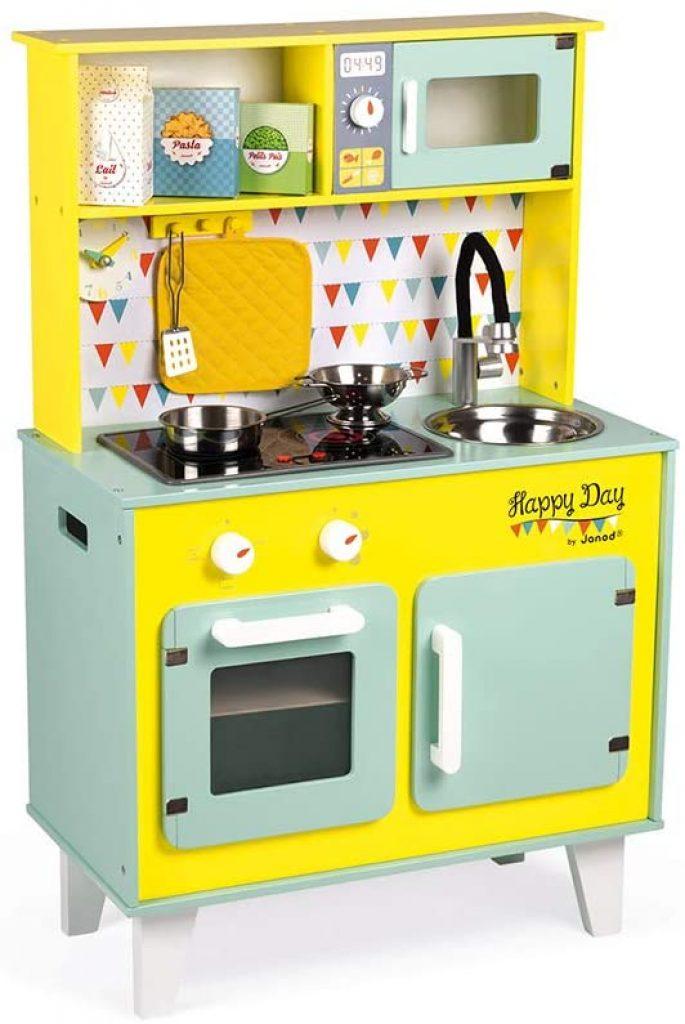 La cuisine Janod Happy Day a de belles couleurs vives.