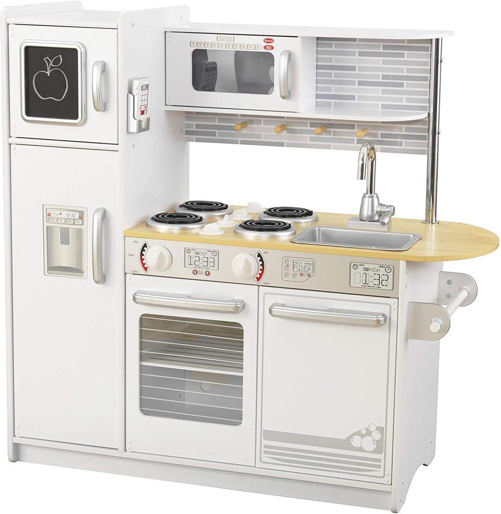 Cette cuisine jouet en bois Uptown de Kidkraft est de couleur Blanche