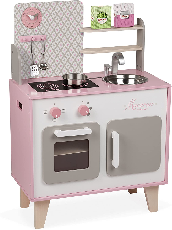 La cuisine Janod Macaron est une cuisine enfant en bois.