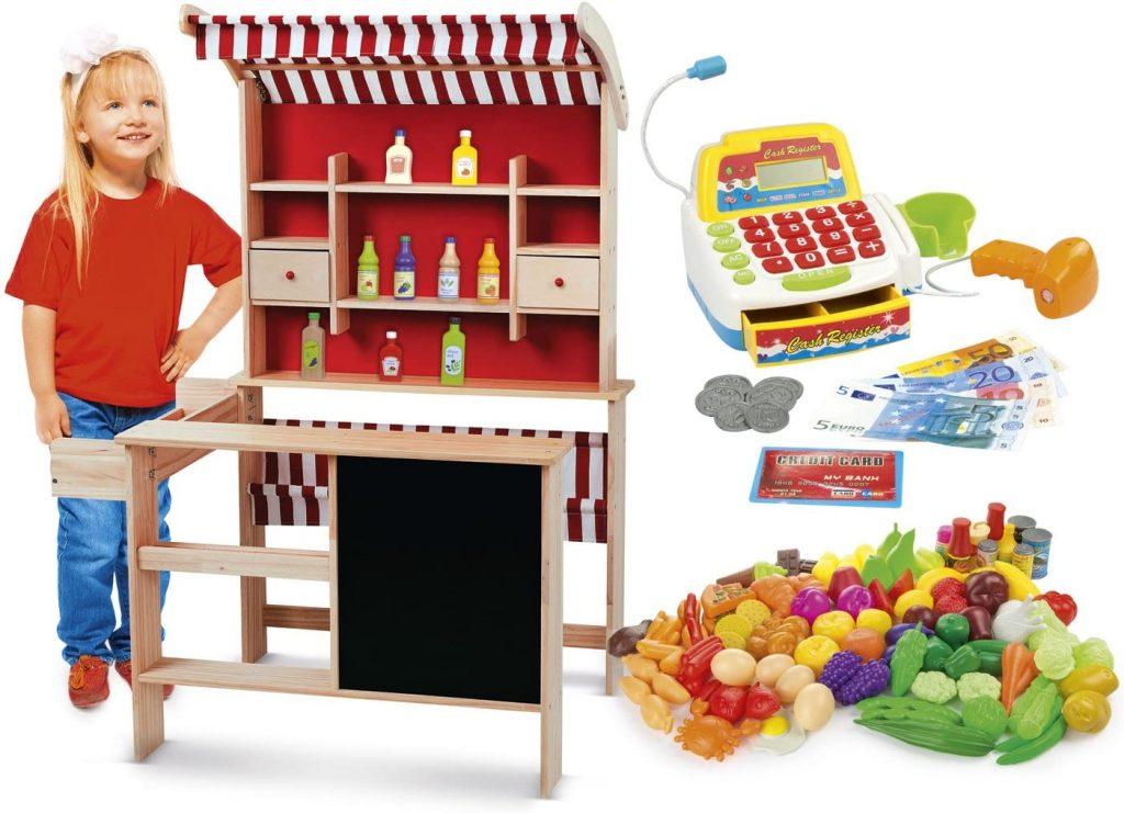 La marchande en bois pour enfant Leomark possède un comptoir.