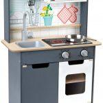 Cette cuisine Hape pour enfant est de couleur grise.