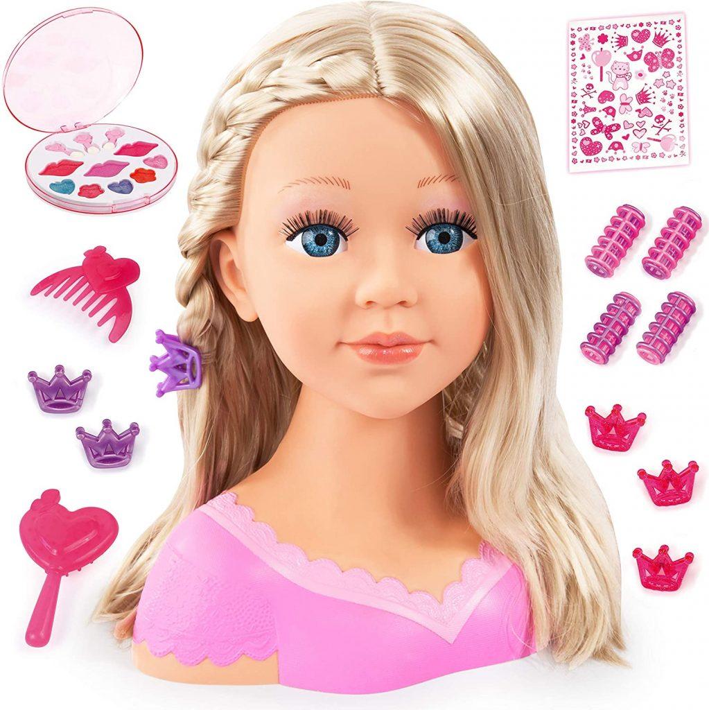 Cette tête à coiffer et à maquiller Bayer Design a les cheveux blonds.